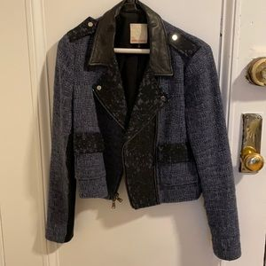 Rebecca Taylor Tweed Blazer with Leather Collar
